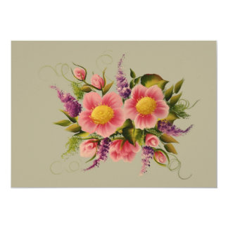 Wild Roses and Lilacs 5x7 Paper Invitation Card