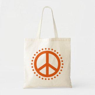 Wild Tangerine Polka Dot Peace Sign Tote Bag