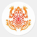 Wild Tribal Frog Tattoo Round Stickers