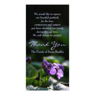 Wild Violets - Memorial Sympathy Thank You Personalised Photo Card