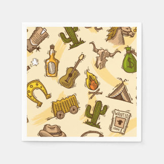 Wild west cowboy colored with guitar and cactus paper napkin