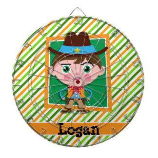 Wild West Cowboy; Green, Yellow, & Orange Stripes Dartboard