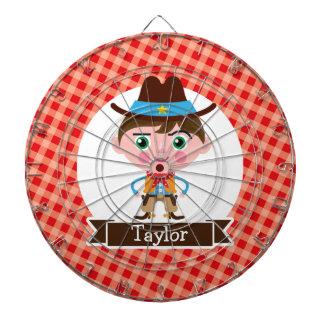 Wild West Cowboy Sheriff, Red Gingham Kid's Dartboard