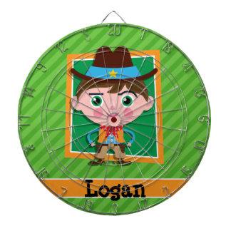 Wild West Sheriff Cowboy on Green Stripes Dartboard