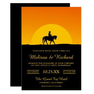 Wild West Western Sunset Cowboy Wedding Invitation