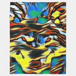 Wild Wolf Spirit Totem Dream Oil Pastel Art Fleece Blanket