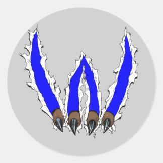 Wildcats Claw Ripping Through Design - Blue Round Stickers