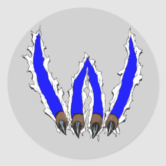 Wildcats Claw Ripping Through Design - Blue Round Stickers