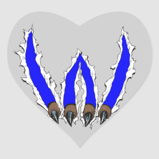 Wildcats Claw Ripping Through Design - Blue Heart Stickers