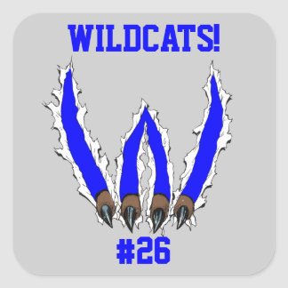 Wildcats Claw Ripping Through Design - Blue Square Stickers