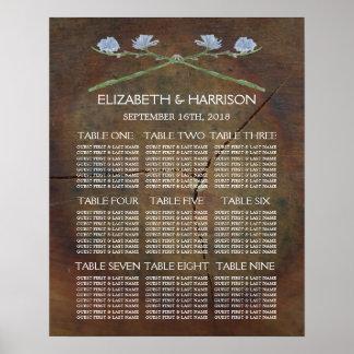 Wildflower Oak Wood Wedding Seating Chart Poster