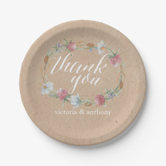 Wildflower Wreath On Kraft Country Wedding 7 Inch Paper Plate
