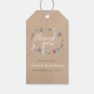 Wildflower Wreath On Kraft Country Wedding Gift Tags