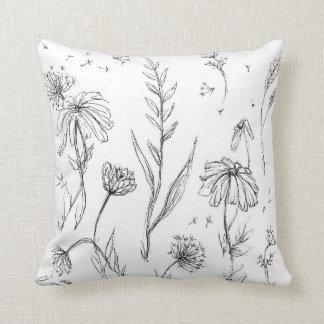 Wildflowers Black & White Throw Pillow