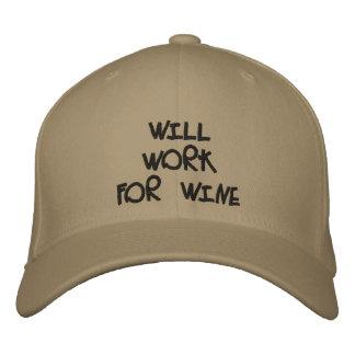 """Will Work For Wine"" Hat Baseball Cap"
