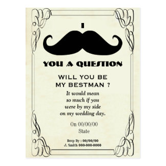 will you be my best man,be my best man postcard