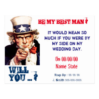 will you be my best man,groomsman postcard