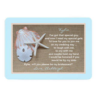 Will You Be My Bridesmaid Beach Blue Burlap Look 13 Cm X 18 Cm Invitation Card