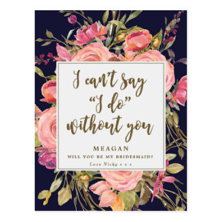 Will you be my bridesmaid card boho floral navy