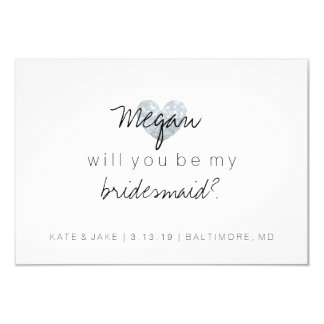 Will You Be My Bridesmaid Card - Heart's Fab 2 sil 9 Cm X 13 Cm Invitation Card