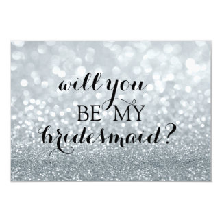 Will You Be My Bridesmaid Card - Silver Glit Fab 9 Cm X 13 Cm Invitation Card