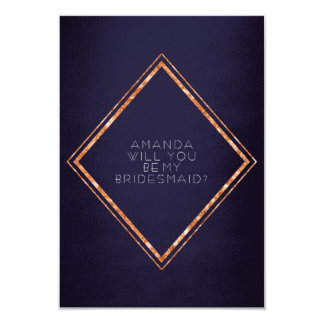 Will You Be My Bridesmaid Copper Diamond Glam Navy Card