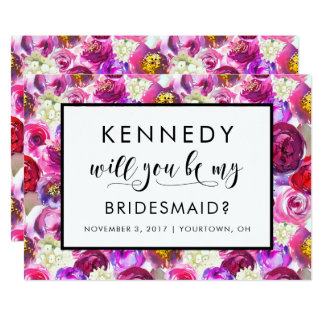 Will You Be My Bridesmaid? Custom Pink Floral Card