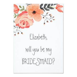 """""""Will you be my bridesmaid"""" Floral Blush Card"""