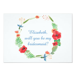 """""""Will you be my bridesmaid"""" floral invitation"""
