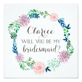 Will you be my bridesmaid, flowers, watercolor 13 cm x 13 cm square invitation card