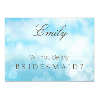 Will You Be My Bridesmaid Gold Blue Glitter Card
