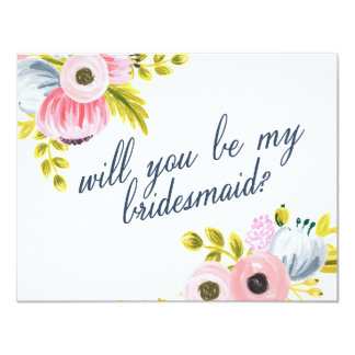 WILL YOU BE MY BRIDESMAID? hand painted card 11 Cm X 14 Cm Invitation Card