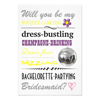 """Will you be my Bridesmaid?"" Personalized Announcement"