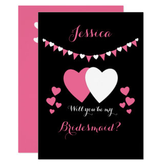 Will you be my Bridesmaid Invitation pink & black