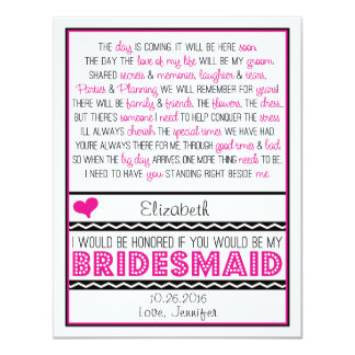 Will you be my Bridesmaid? Pink/Black Poem Card V2 11 Cm X 14 Cm Invitation Card