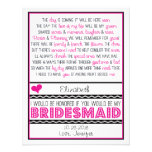 Will you be my Bridesmaid? Pink/Black Poem Card V2 Custom Invites