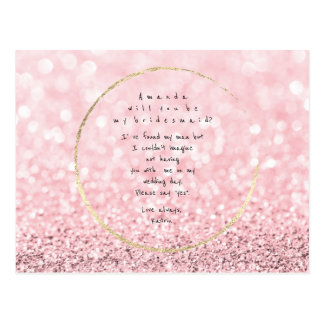 Will You Be My Bridesmaid Pink Rose Gold Glitter Postcard