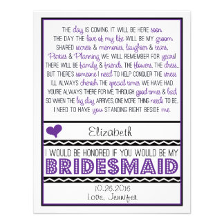 Will you be my Bridesmaid Purple Black Poem V2 Personalized Invites