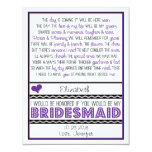 Will you be my Bridesmaid? Purple/Black Poem V2 Personalized Invite