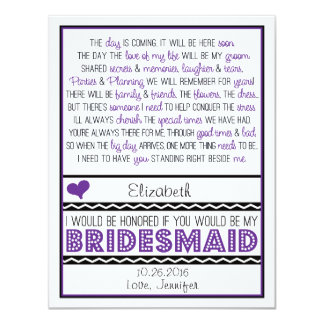 Will you be my Bridesmaid? Purple/Black Poem V2 Personalized Invites
