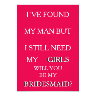 Will you be my bridesmaid request Pink & Glitter 13 Cm X 18 Cm Invitation Card