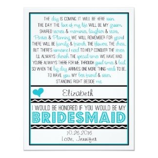 Will you be my Bridesmaid? Turquoise/Black Poem 11 Cm X 14 Cm Invitation Card