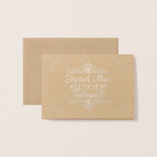Will You Be My Bridesmaid? Vintage Ornate Foil Card