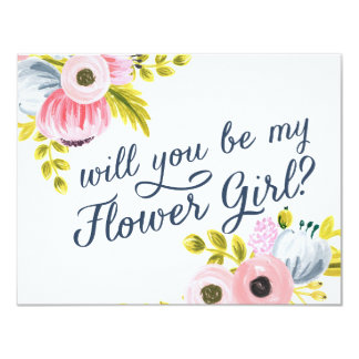 WILL YOU BE MY FLOWER GIRL? hand painted card 11 Cm X 14 Cm Invitation Card