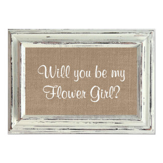 Will You Be My Flower Girl? Rustic White Frame Card