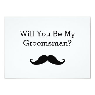 Will You Be My Groomsman Black Mustache 13 Cm X 18 Cm Invitation Card