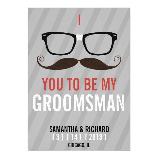 Will you be my Groomsman Geek Glasses invite