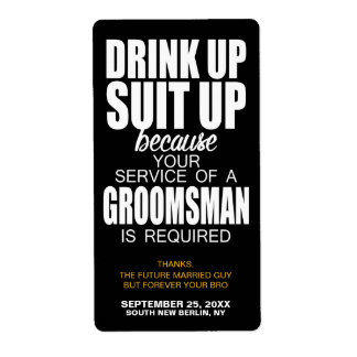 Will You Be My Groomsman? WINE LABEL Beer Label