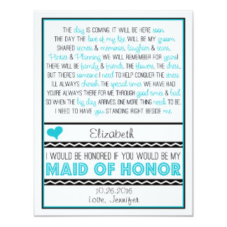 Will you be my Maid of Honor? Blue/Black Poem V2 11 Cm X 14 Cm Invitation Card