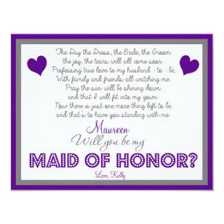Will you be my Maid of Honor? Card Custom Invitation